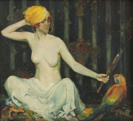 Alexander O. Levy -  Woman with Parrot