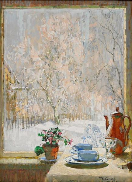 Konstantin Gorbatov coffee by the window, 1945