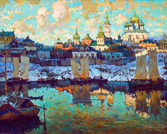 Горбатов - Вид на гавань. Закат.