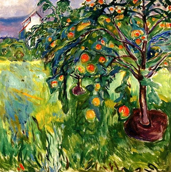 Edvard Munch  -  Apple Tree by the Studio