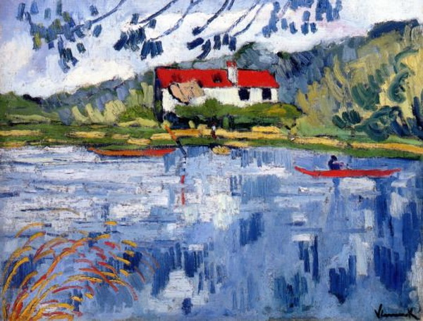 Maurice de Vlaminck - Sunny River With Boater