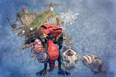 Драконя и ее друзья на дополненной 3D открытке