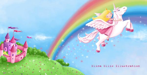 princess and unicorn flying