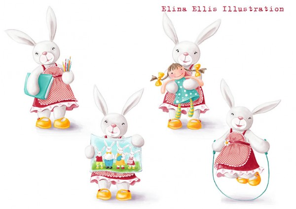 4 bunnies colour
