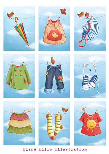 clothes cards colour copy