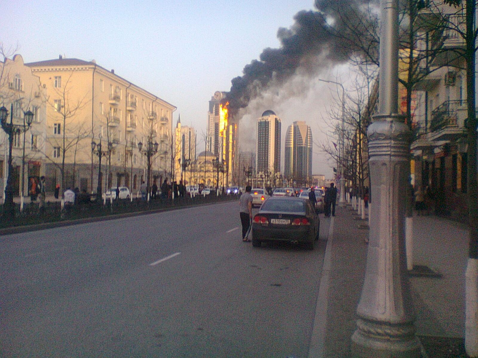 Пожар высотки Грозный-Сити
