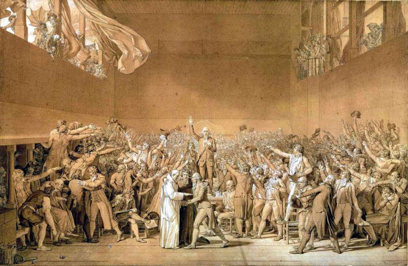 """Гравюра с рисунка Ж.-Л. Давида """"Клятва в зале для игры в мяч"""", 1790-е годы"""