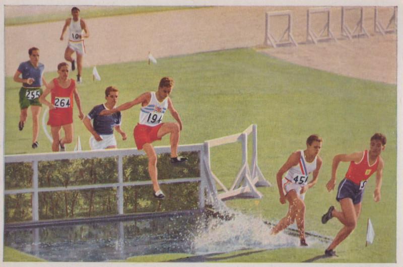 Американская почтовая карточка 1932 года. Фрагмент бега на 3000 м. с препятствиями