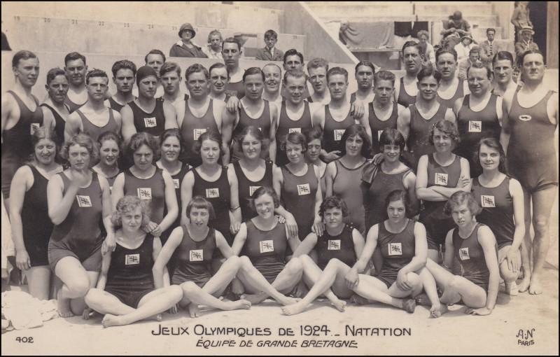 Сборная Великобритании по водным видам спорта на почтовой открытке