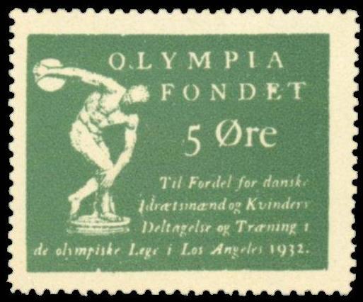 """Датская виньетка. Перевод: """"Олимпийский фонд, 5 октября, в интересах участия и подготовки датских спортсменов и женщин на Олимпийских играх в Лос-Анджелесе 1932 года"""""""