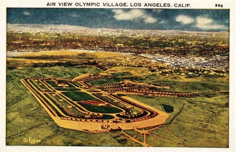 Американская почтовая открытка 1932 года. Олимпийская деревня