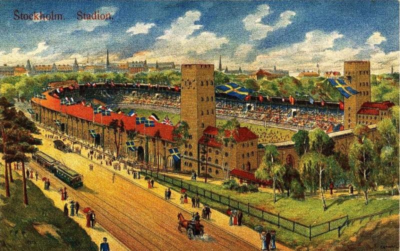 Шведская открытка 1912 года с видом Олимпийского стадион в Стокгольме