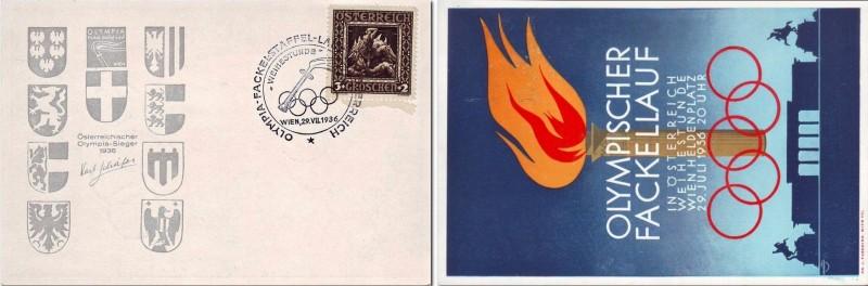 Австрийская почтовая открытка, посвящённая олимпийской факельной эстафете 19136 года