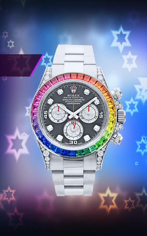 Rolex Daytona Rainbou - часы с сапфирами