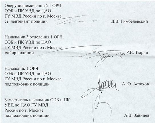 Отказ в возбуждении уголовного дела подписан этими лицами