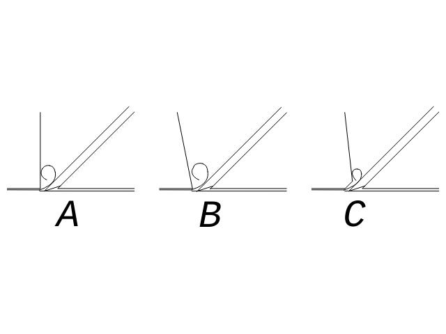 Продольный разрез летков рубанков различной конструкции