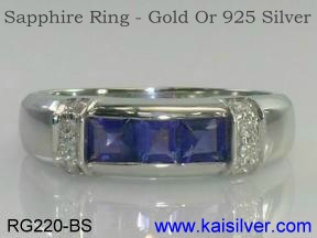 Sapphire Ring, White Gold Blue Sapphire Ring