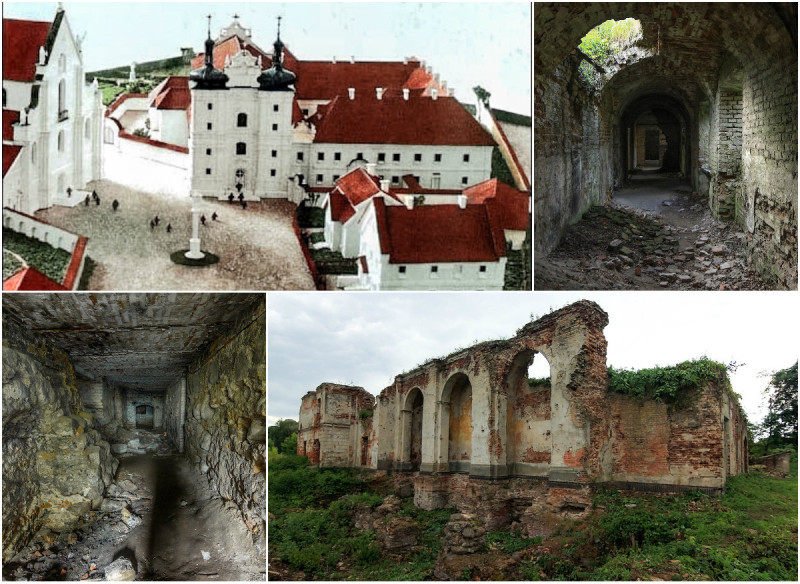 Графическая реконструкция и руины Бернардинского монастыря