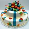 Two tier white round party celebration theme cake.JPG