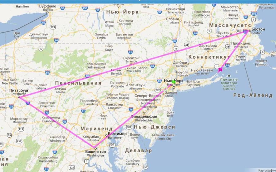 карта маршрута из Нью-Йорка в Нью Хейвен