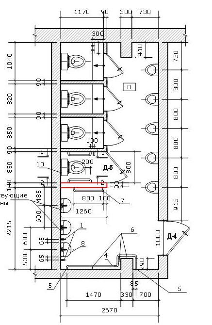 план мужского туалета
