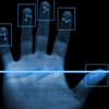 A hand is scanned by an optic sensory system