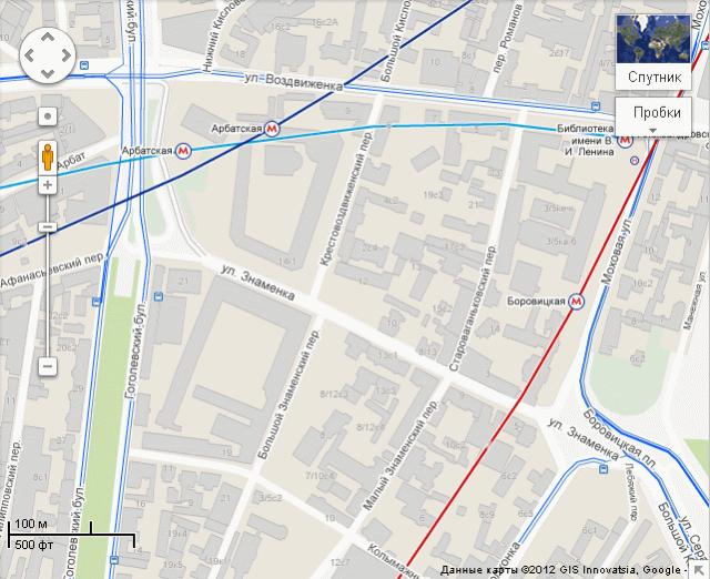в Москве. Карта Google: