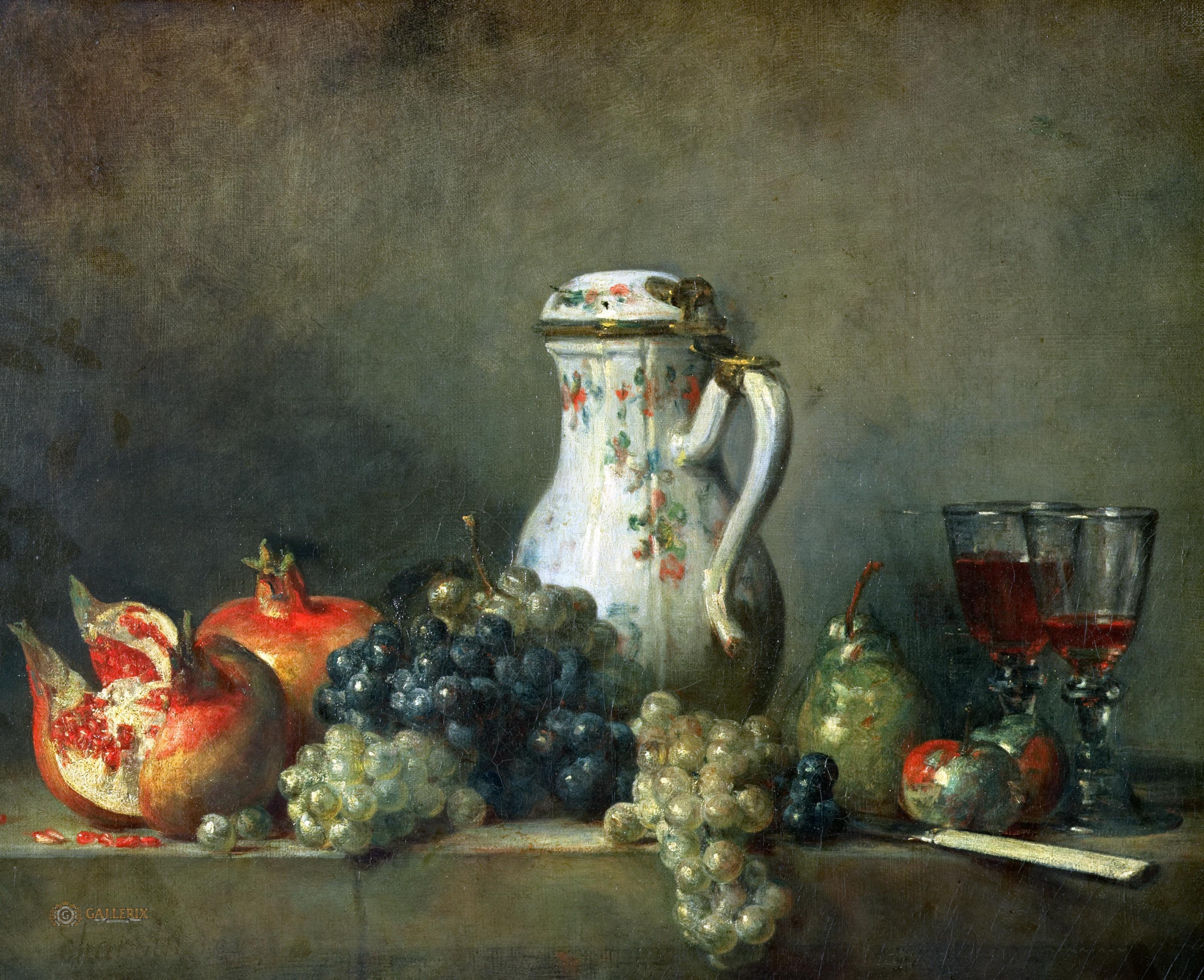 Жан-Батист Симеон Шарден - Натюрморт с виноградом и гранатами