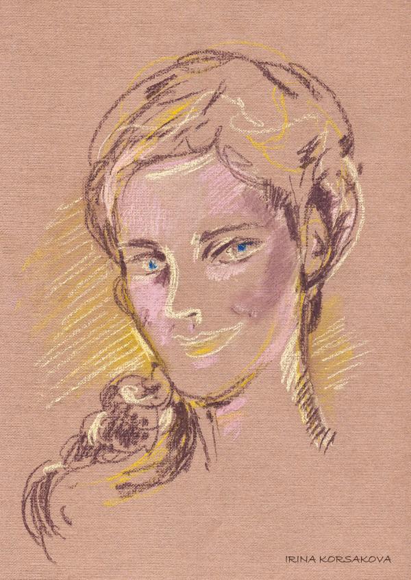 Irina-Korsakova-Portrait of a young girl.Pastel.2015
