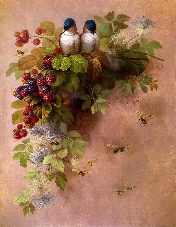 Birds, Bees and Berries, oil on board , 1900, Private collection