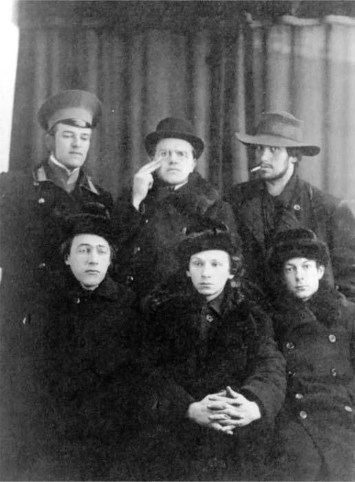 н. бурлюк, д бурлюк, маяковский, хлебников, г. кузьмин, с. долинский 1913