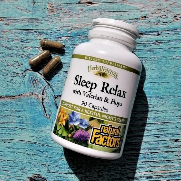 - 15% на Natural Factors, Sleep Relax, с валерианой и хмелем, 90 капсул