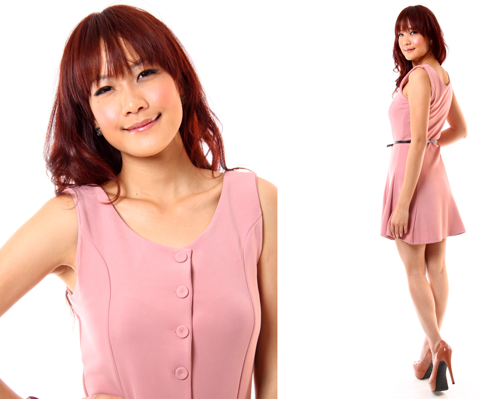 Terina Buttoned Down Skater Dress in Pink 4