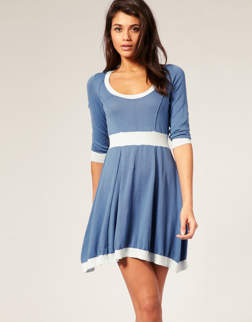 asos knitted fit and flare dress