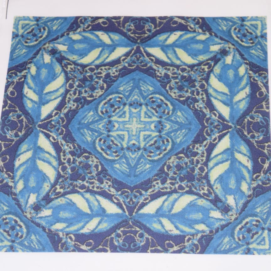 Old Fashioned Faux Carpet In Blue And Ice Green Wallpaper