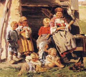 Vladimir_Makovsky_-_The_Village_Children_fragment