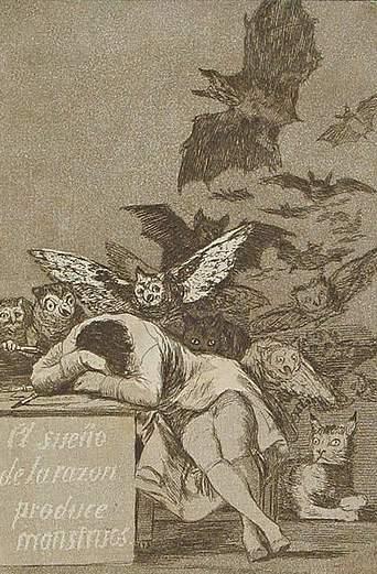 El sueño de la razón produce monstruos, Сон разума рождает чудовищ, Франциско Гойя, 1797
