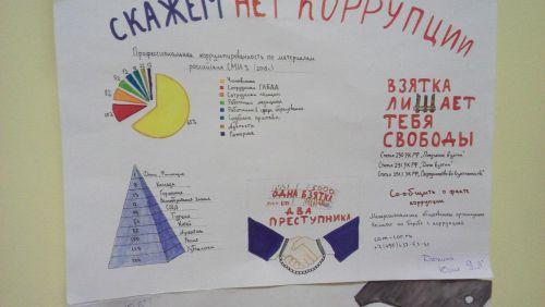 фотография созданного школьниками плаката против коррупции