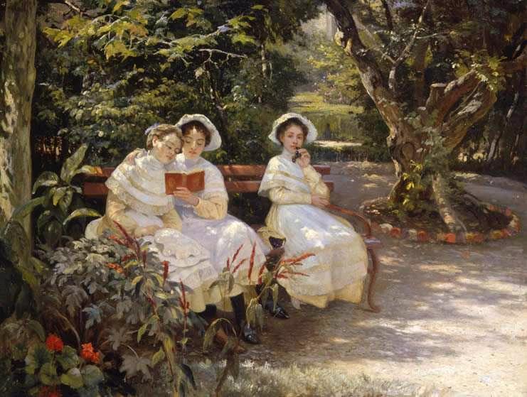 Мясоедов Г.Г. 1834-1911. Три сестры в парке. 1880-е г.г.