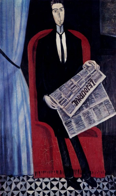 ANDRE DERAIN. 1880-1954 Portrait of an Unknown Man Reading a Newspaper (Chevalier X.). 1914