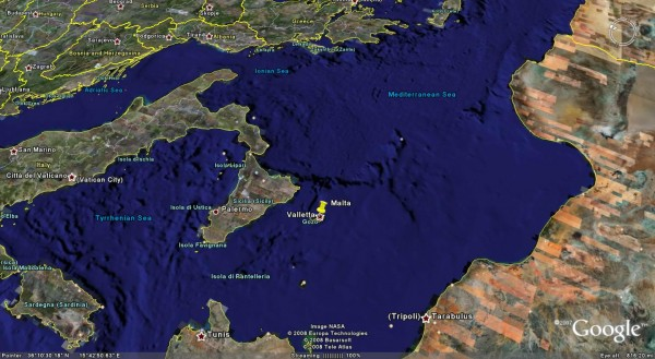 Мальта контролирует западную часть Средиземного моря.