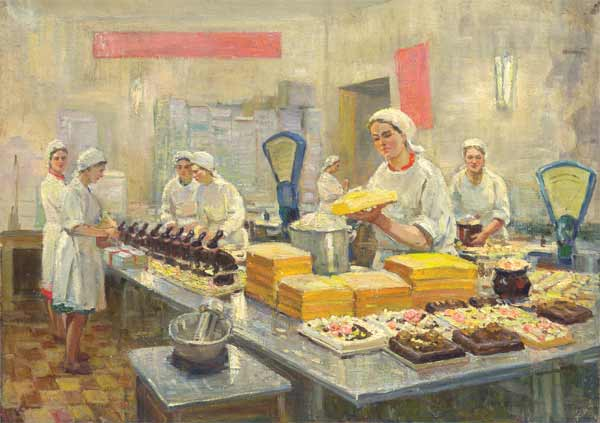 На фабрике Большевик. Холст, масло. 70х98.