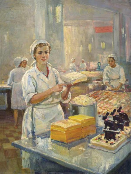На фабрике Большевик. 1954 г. Холст, масло. 80х60.