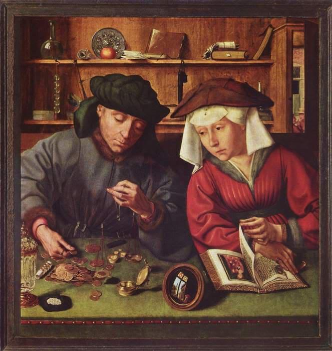 Квинтен Массейс. Меняла с женой, 1514, Лувр