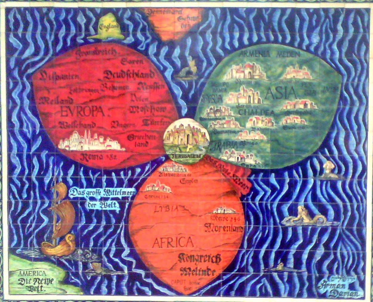 Старая карта мира. Иерусалим - в центре