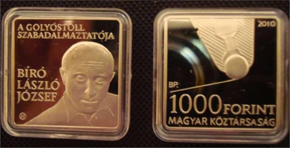 Юбилейные монеты в честь Л.Биро, выпущенные в 2010 году