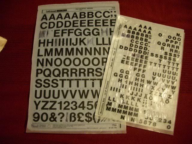 Переводные листы Letraset