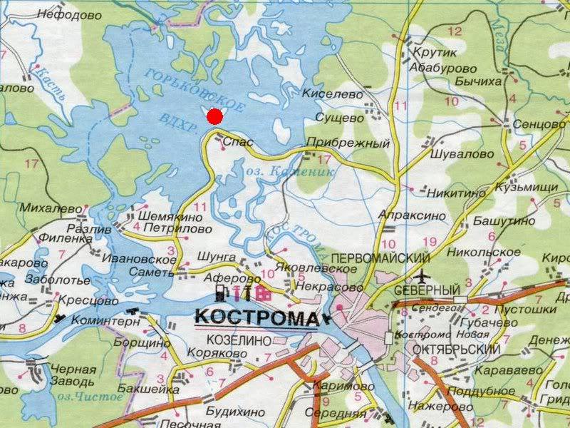 Место на карте Костромской области, где когда-то находилась деревня Малые Вёжи
