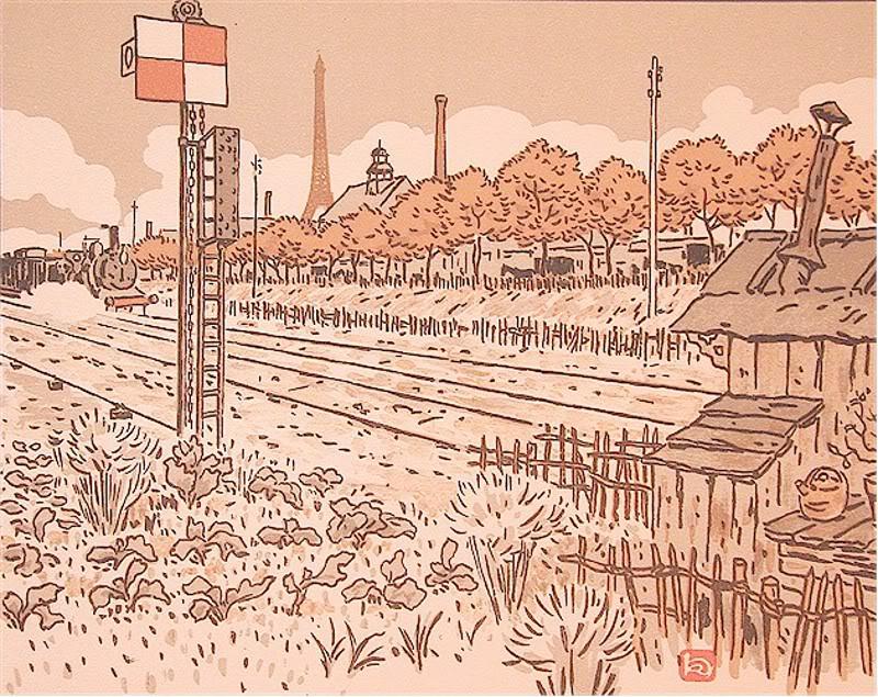 Анри Ривьер - Вид Эйфелевой башни от набережной Жавель