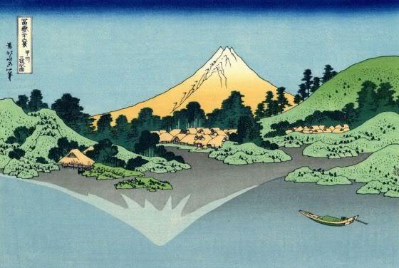 Хокусай - Отражение Фудзи в водах озера Кавагучи. Вид с перевала Мисака в Косю.